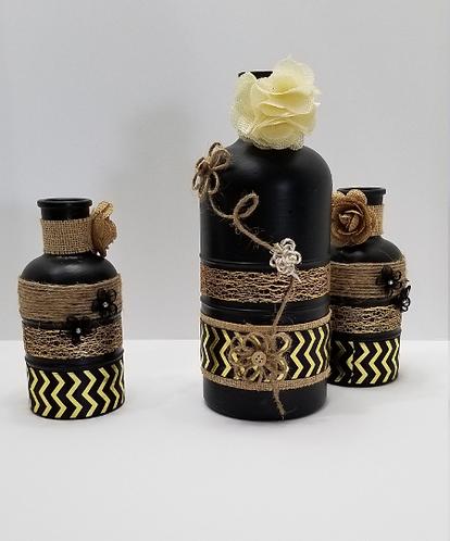 Black & Gold Handmade Decorative Bottle Set