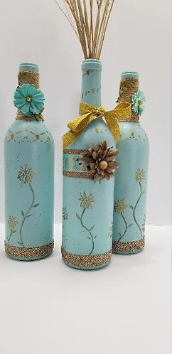 Hand Drawn Aqua and Gold Bottle Set