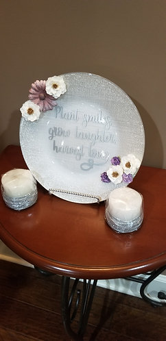 Glass Sparkling Silver/White Plate