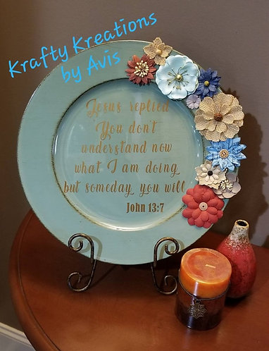 Aqua Charger Plate with Scripture, Paper Flowers and Stand