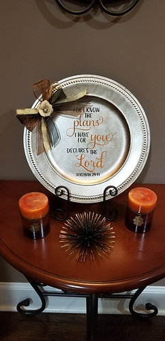 Silver and Gold Mix Charger Plate with Scripture and Stand