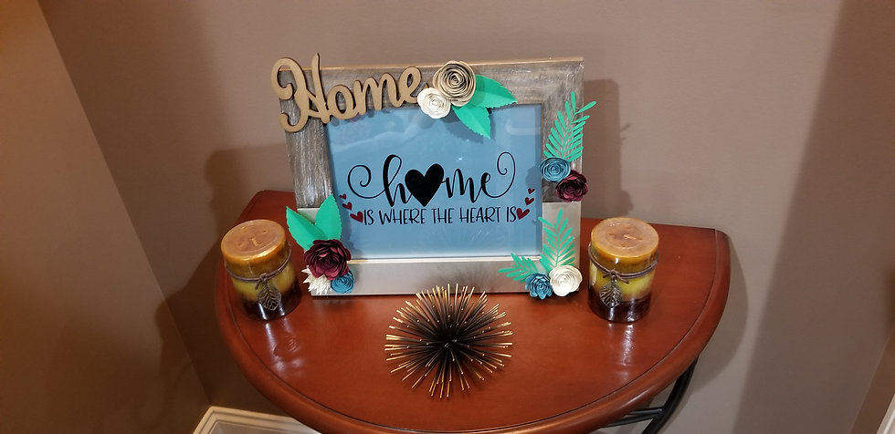 "Framed Inspirational Quote ""Home is where the heart is "" with handmade"