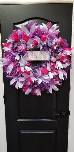 Handmade Decorative Deco Mesh Violet Purple, Flaming Pink, Lavendar, and Silver