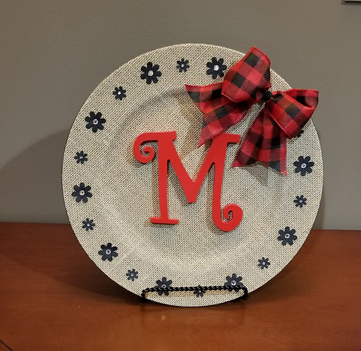 "Burlap Charger Plate with ""M"" Monogram."