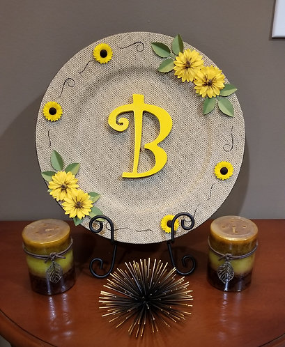 """Burlap Charger Plate with """"B"""" Monogram"""