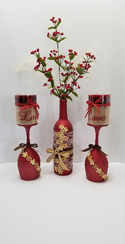 3 pc. Handmade Red Glittered Bottle and Wine Glasses