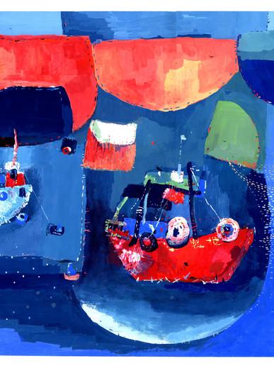 Lauren Wan. Red Dwelling, Watercolor on