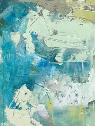 DEEP END II, 2019. Acrylic on canvas, 20 x 20 in.