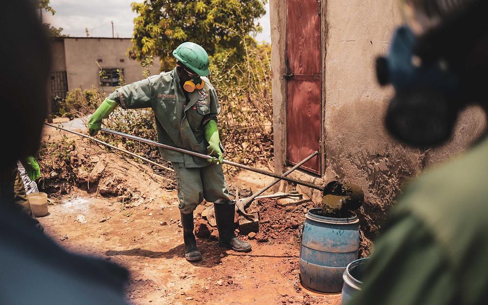 Pit latrine emptiers, Lusaka, Zambia. Lior Sperandeo
