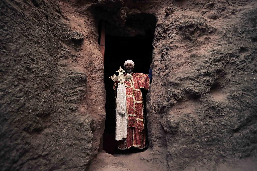 Lalibela rock churches priest, Ethiopia Photo by Lior Sperandeo