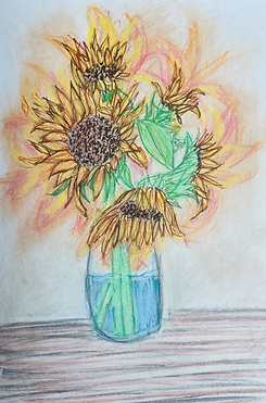 Sunflowers Pastels and color pencils by