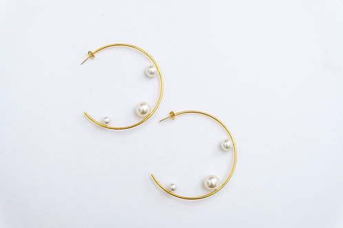 Pearl Line Hoop Earrings