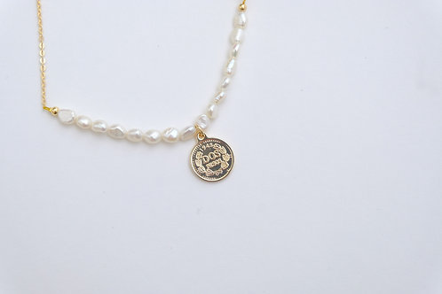Vintage Coin in Pearl setting Necklace