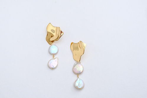 Baroque pearl stud two drop earrings