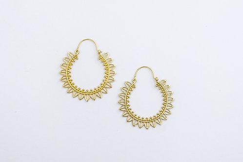 Gold Bohemian Tribal Gypsy Hoop Earrings