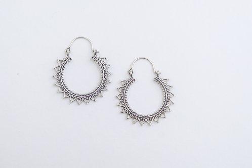 Silver Bohemian Tribal Gypsy Hoop Earrings