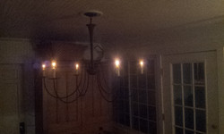 Chandelier in its home.