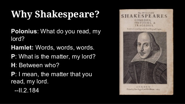 """""""What do you read my lord""""? Shakespeare II.2"""