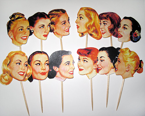 1950s Housewife Cupcake Toppers