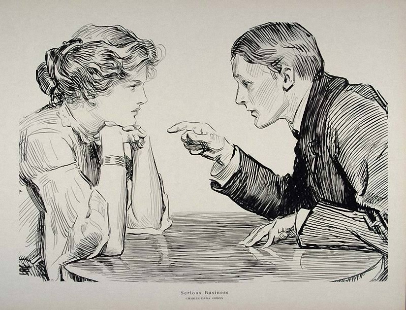 Early 1900s Charles Dana Gibson Vintage Print, SERIOUS BUSINESS