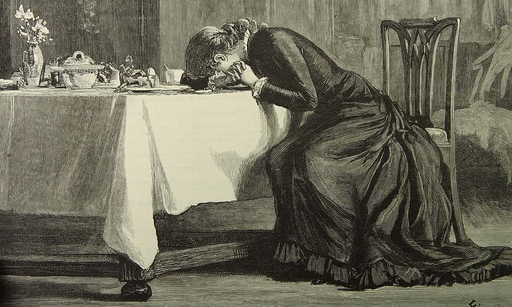 Too embarrassed to look? A Victorian lady at the breakfast table, drawn by Luke Fildes (1880). Image: Alamy