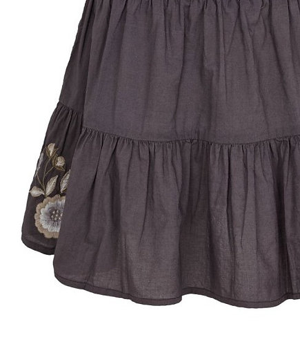 3749B - Cotton skirt w.embroidery - Off.White