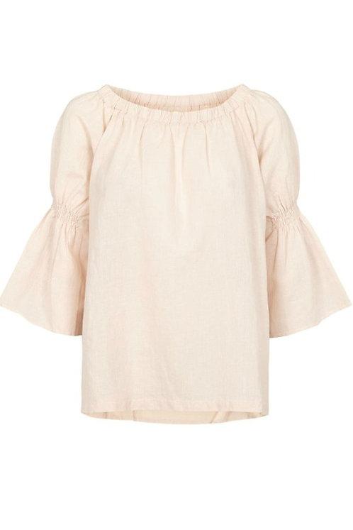 3715C - Linen Shirt w.smock - Mauve