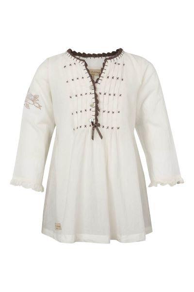 3370B - Shirt w.crochet - Pearl