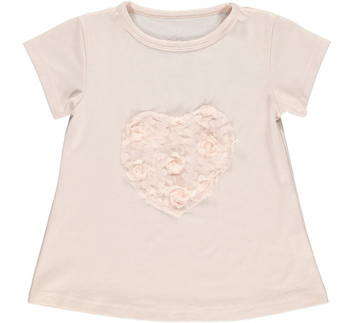 2335C - T-shirt w.flower heart – Rosa