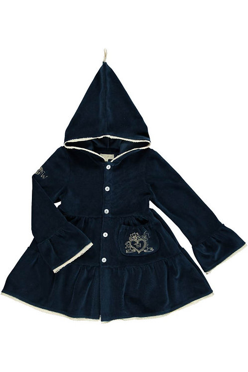 Velvet coat w.hood - Midnight blue