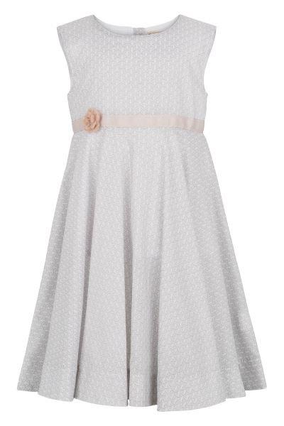 3366A - Dress w.crochet flower - Grey print