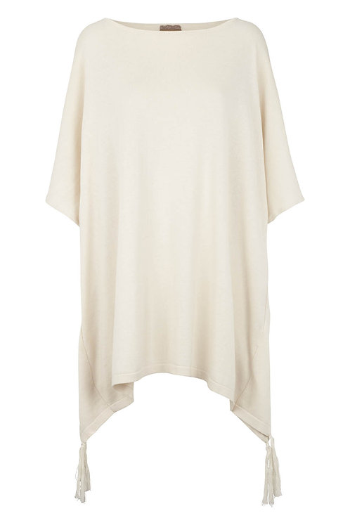 3281B - Cotton Poncho – Pearl