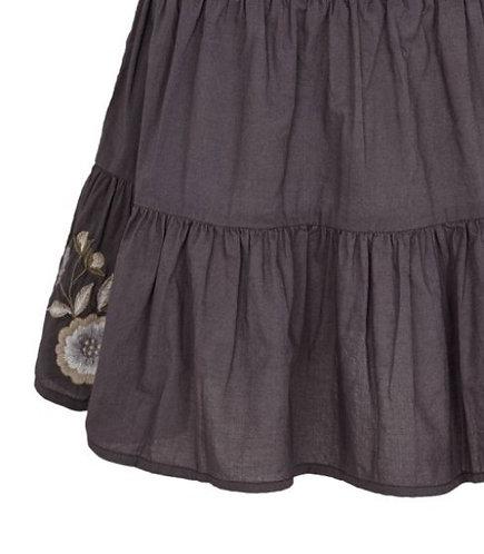 3749L - Cotton skirt w.embroidery - Plum kitten