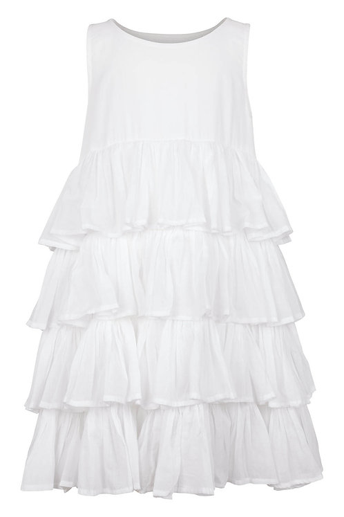 2786A - Frill Dress in White