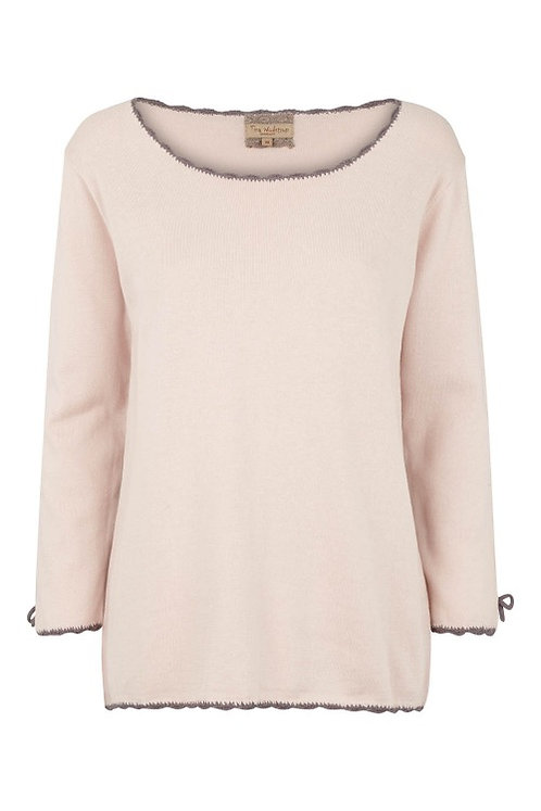 3284B - Cotton knit blouse - Pearl
