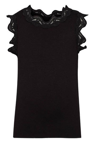 3357L - Top w.lace - Black