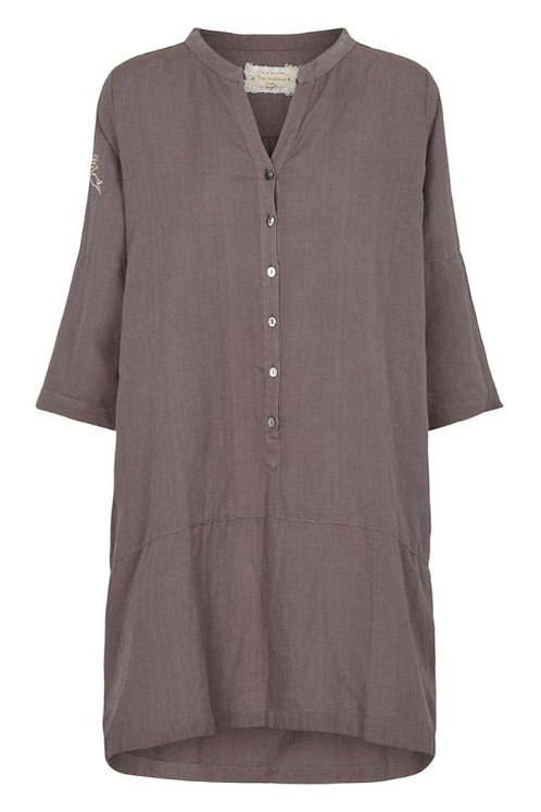 3716L - Linen Shirt - Plum kitten