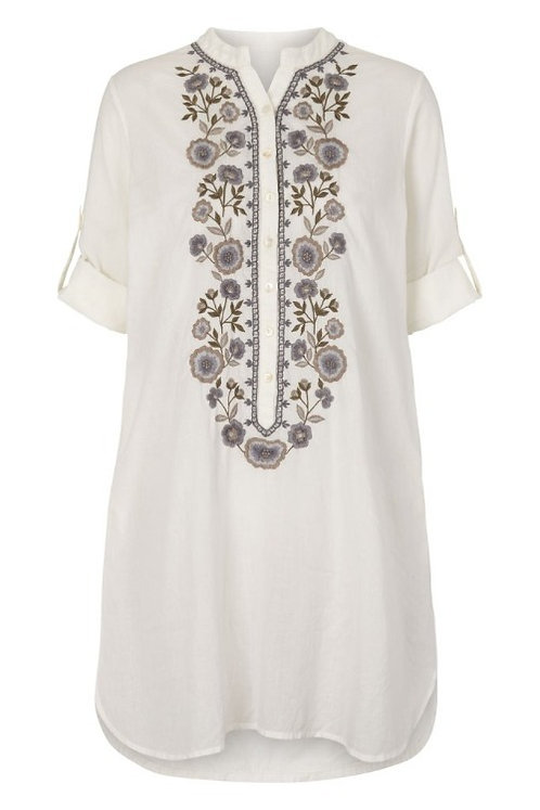 3748B - Shirt w.embroidery - Off.White