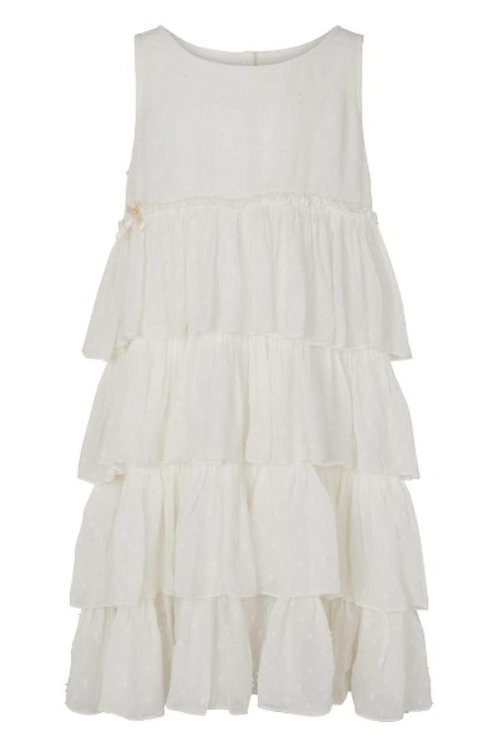 3776B - Georgette frill dress - Off.White