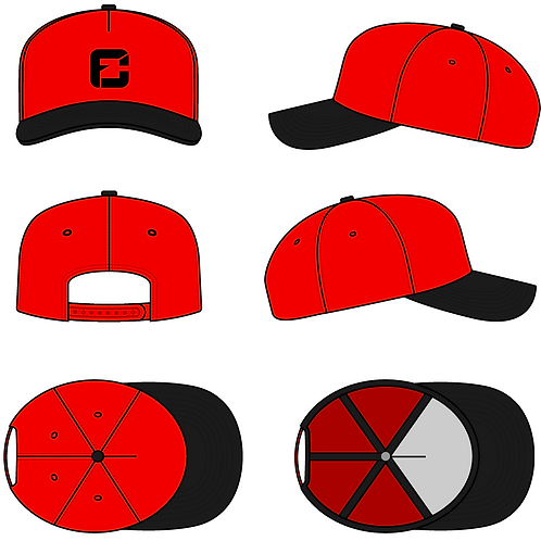 Red five panel curved hat