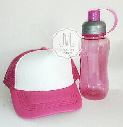 סט כובע מודפס ובקבוק עם שם