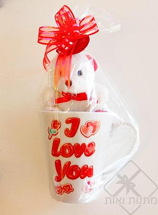 כוס ספל ארוז מתנה עם דובי I LOVE YOU