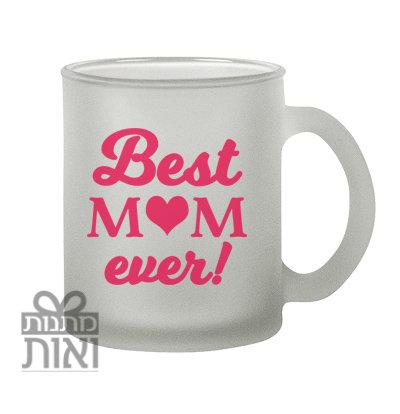 כוס ספל פרוסטי זכוכית חלבית BEST MOM EVER