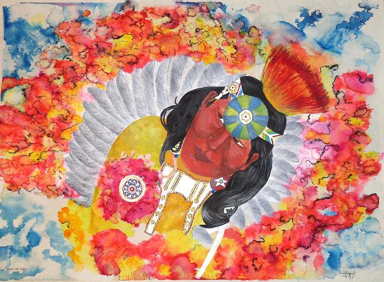 OSAGE WARRIOR Watercolor, framed