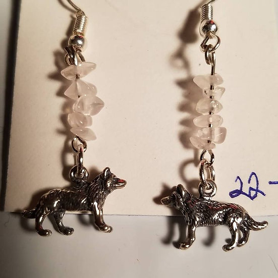 WOLF WITH ROSE QUARTZ EARINGS
