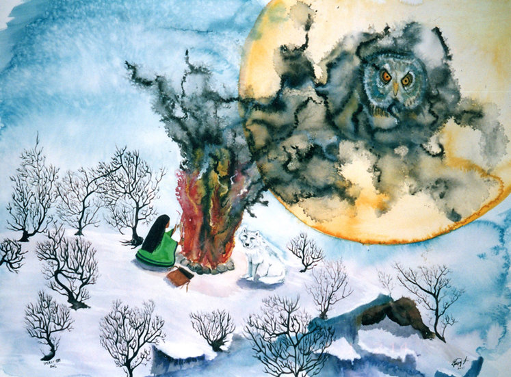 Spirit Fire Owl - Watercolor