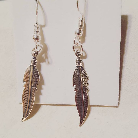 SMALL STERLING FEATHER EARINGS