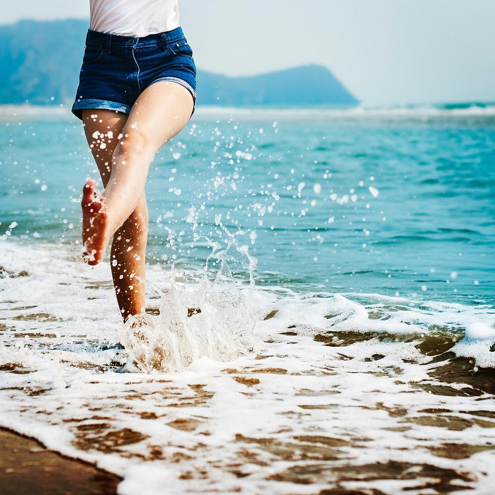 kicking it at the beach