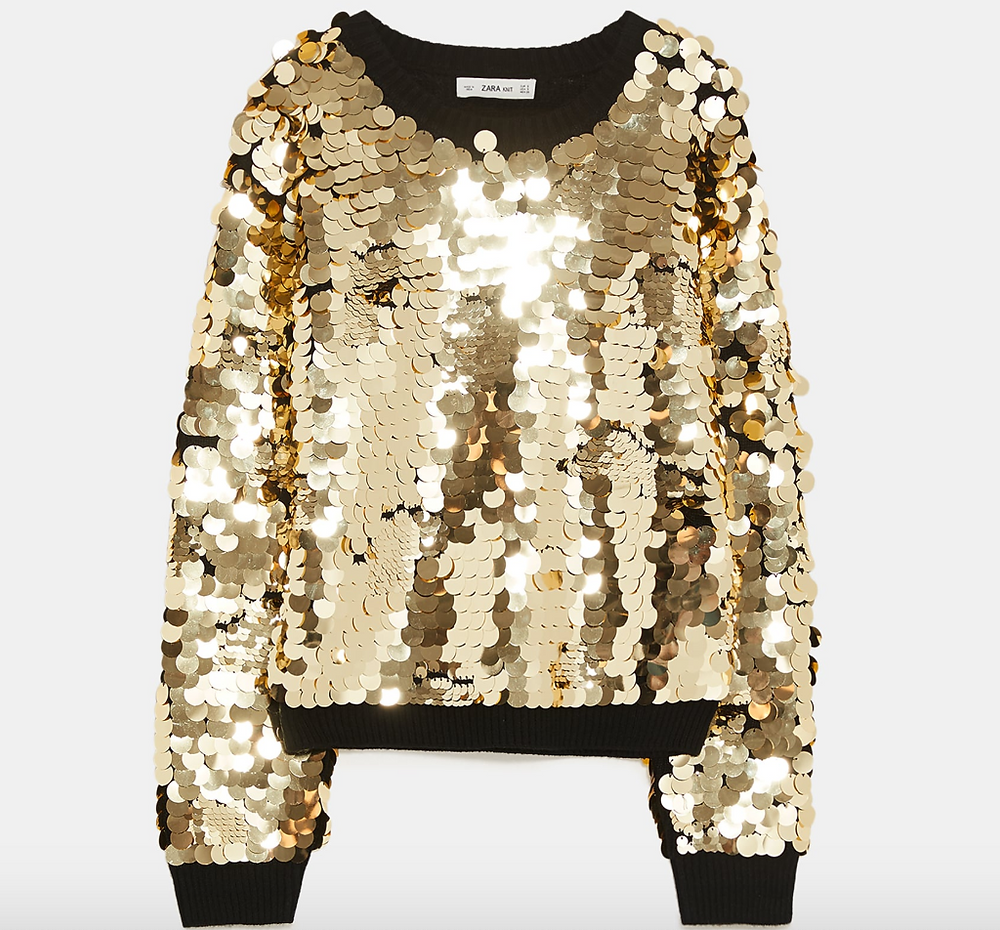 Gold sequin Zara jumper, knitted with black cuffs
