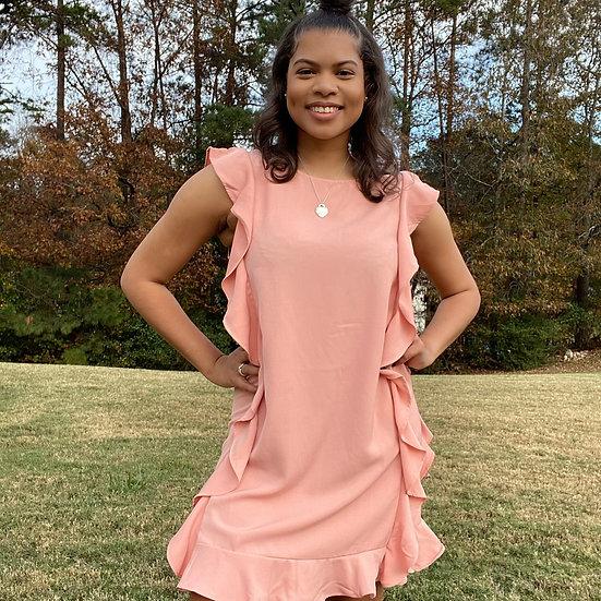 Salmon Pink Ruffle Dress